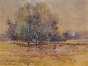 Sale 8716 - Lot 2059 - Gerald Fitzgerald (1873 - 1935) - Countryscape with Distant view of Smoke, 1910 21 x 28cm