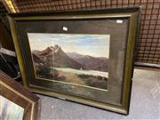 Sale 8914 - Lot 2044 - Tom Peerless Maori by Lake and Mountain Vistas, New Zealand oil on academic board, 33.5 x 53.5 cm, signed -