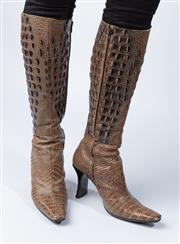 Sale 9003F - Lot 25 - A Robert Clergerie knee-high crocodile leather boots, made in France, size7.5