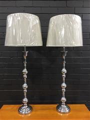 Sale 9006 - Lot 1082 - Pair of Tall Aluminium Floor Lamps - 5779 (H:117cm)