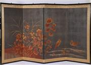 Sale 9003C - Lot 650 - Vintage Four Panel Folding Screen Depicting Cranes and Flowers in Autumnal Tones (180 x 92cm)
