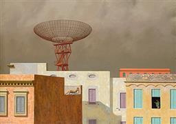 Sale 9099A - Lot 5038 - Jeffrey Smart (1921 - 2013) - Rooftops, 1968 41 x 55 cm