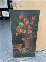 Sale 9072 - Lot 2086 - An Early oil painting of a Still Life - Red Flowers, Red Berries, and Wine Glass (AF) -