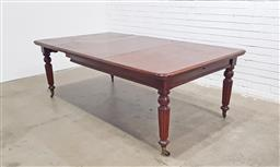 Sale 9097 - Lot 1045 - Victorian Mahogany Extension Dining Table, with three leaves & raised on turned reeded legs (h:72 x w:156 x d:120cm)