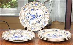 Sale 9120H - Lot 85 - A set of six Continental cabinet plates with floral and bird of paradise designs, Diameter 26.5cm
