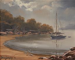 Sale 9125A - Lot 5090 - Brian Biagent (1929 - ) - Quiet Anchorage, Broken Bay, 1975 19 x 24 cm (frame: 43 x 39x 5 cm)