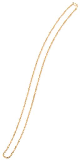 Sale 9149 - Lot 313 - A 9CT GOLD FANCY NECK CHAIN; 2.6mm wide flat Prince of Wales chain to parrot clasp, length 55cm, wt. 4.83g.