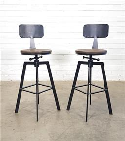 Sale 9146 - Lot 1033 - Pair of modern timber and metal barstools (h:90 mx d:31cm)