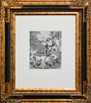 Sale 8330A - Lot 137 - Norman Lindsay (1879 - 1969) - The Picnic Gods 26 x 21cm
