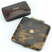 Sale 8390A - Lot 66 - Tortoiseshell Hinged Box diamond monogrammed AGC (one hinge a.f.) with a Cigarette Case (hinge a.f.)