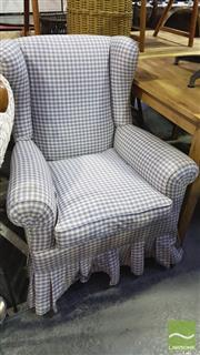 Sale 8390 - Lot 1520 - Gingham Wingback Armchair