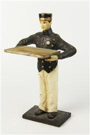 Sale 8445A - Lot 6 - Bell Boy Cast Metal Card Holder - height - 23cm