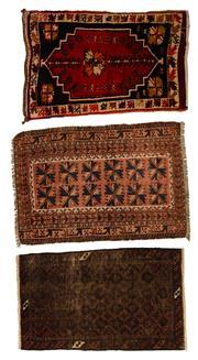 Sale 8455C - Lot 18 - 3 x Antique Persian Door Mats Approx. 60cm x 90cm