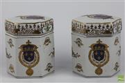 Sale 8505 - Lot 49 - Ceramic Pair of Lidded Tea Caddies Decorated with Gilt Crown Motifs