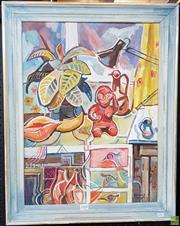 Sale 8587 - Lot 2068 - Edmund Spencer (1920 - 2014) Fertility Symbols, oil on canvas board, 59.5 x 44.5cm, signed lower right