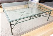 Sale 8644A - Lot 24 - A bespoke Italian metal framed coffee table with x-cross base with toughened bevel edged glass top coffee table, H 42 x W 140 x D 140cm