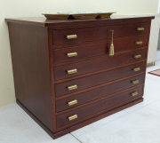 Sale 8677B - Lot 554 - A very well made six drawer map chest, each drawer with hinged facade bearing plaque MIS. Atlantik, of German manufacture. H x 97cm,...