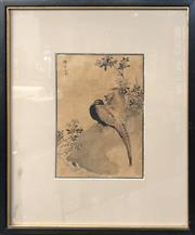Sale 8784 - Lot 2005 - Original Woodblock Print of Two Pheasants, with hand colouring, 38.5 x 32cm (frame size)