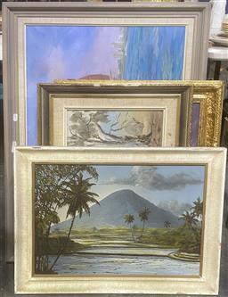 Sale 9103 - Lot 2089 - 4 Artworks incl. Dancer, Landscapes, Jung