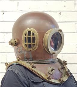 Sale 9117 - Lot 1025 - Reproduction brass and copper divers helmet (d45cm)