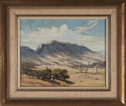 Sale 9125A - Lot 5086 - Howard Barron (1900 - 1991) - A Glimpse of the Buckets, Mount Gloucester 19 x 24 cm (frame: 35 x 30 x 3 cm)