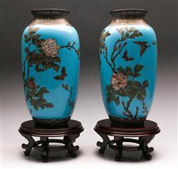 Sale 9122 - Lot 74 - Pair of Large 19th Century Blue Cloisonne Vases on Stands (H:40cm)