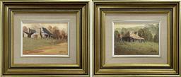 Sale 9127 - Lot 2022 - John Vander (2 works) Country Cottages oils on board (32 x 38cm, each ) signed -