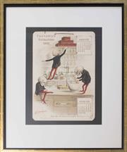 Sale 8511 - Lot 1093 - An Antique Style Print Depicting an Apothecary Calendar, Par De Substitution 50 x 30cm