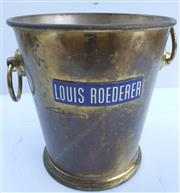 Sale 8312A - Lot 24 - A vintage brass and enamel Louis Roederer champagne bucket stamped made in Italy, height 21 cm