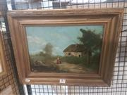 Sale 8650 - Lot 2044 - Artist Unknown (European School) - Country Scene and Cottage 23.5 x 34cm