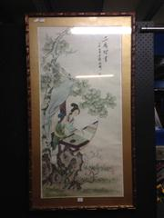 Sale 8663 - Lot 2063 - Framed Chinese Print of a Lady in Faux Bamboo Frame