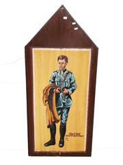 Sale 8809B - Lot 603 - Albert Hall. Fighter Pilot Ace & Britains 3rd Highest Scoring Ace. Hand Painted Double Sided Plaque L.M 74 (126 x 57cm)