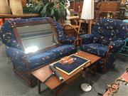 Sale 8822 - Lot 1763 - Two Piece Cane Lounge Suite incl. Reclining Lounge Chair