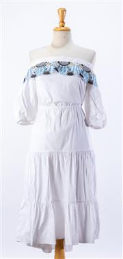 Sale 8891F - Lot 63 - A Peter Pilotto white cotton-blend off-the-shoulder tiered dress with multi-coloured lace trim, size 10