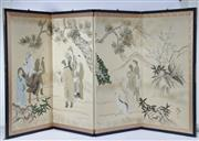 Sale 9003C - Lot 647 - Four Panel Handpainted Folding Screen Depicting Villagers in the Mountains (185 x 93cm)