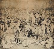 Sale 9038 - Lot 548 - Norman Lindsay (1879 - 1969) - Argument 21 x 23.5cm (frame: 40 x 40 x 2 cm)
