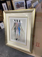 Sale 9082 - Lot 2064 - Bruno Dutot Three Women decorative print, frame: 106 x 88 cm, -