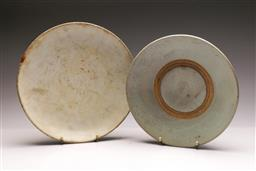 Sale 9104 - Lot 27 - A celadon dish - repair to rim (D 30cm) together with another