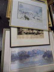 Sale 8437 - Lot 2091 - (3 works) Sidney Tushingham (1884 - 1968) Venice Canal Scene, etching, 26 x 36.5cm, signed lower right, plus 2 Early C20th waterco...