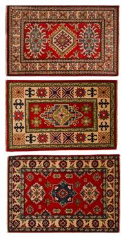 Sale 8455C - Lot 19 - 3 x Afghan Kazak 60cm x 90cm