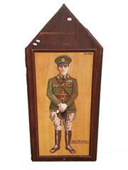 Sale 8809B - Lot 604 - James McCudden. British Fighter Pilot Ace of 54 Victories. Hand Painted Double Sided Wall Plaque. B.R Moss (126 x 57cm)