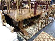 Sale 8896 - Lot 1019 - Large Parquetry Top Dining Table on Stretcher Base