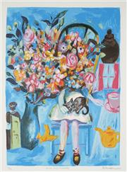 Sale 8916 - Lot 583 - Charles Blackman (1928 - 2018) - Alice and Flowers 56.5 x 41 cm