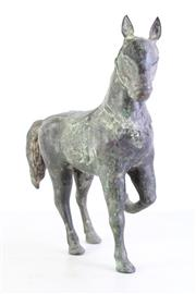 Sale 8957 - Lot 46 - A Large Patinated Brass Figure of A Horse (H 40cm L 45cm)