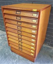 Sale 8984 - Lot 1012 - Vintage Maple Specimen Cabinet with Ten Glass Top Drawers (H:71 x W:54 x D:55cm)