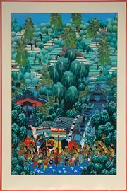 Sale 9019 - Lot 2049 - Artist Unknown (Balinese) - Balinese Village Scene 79.5 x 61 cm (frame: 97 x 73 x 2 cm)