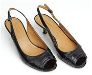 Sale 9081H - Lot 59 - A pair of Nine West patent leather sling back peep toe kitten heals in black, size 39