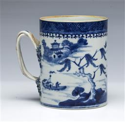 Sale 9093P - Lot 41 - Late C18th Chinese Blue and White Landscape Tankard, h. 12cm.