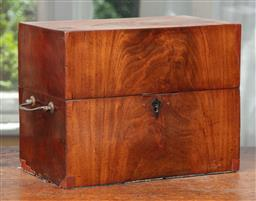 Sale 9120H - Lot 88 - A C19th mahogany twin handled apothecary box with hinged lid, Height 24cm x Width 31cm x Depth 18cm