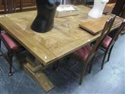 Sale 7943A - Lot 1523 - Parquetry Top Elm Pedestal Tables (200 cm)